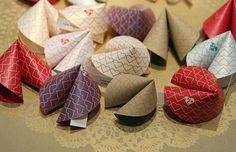 Fortune Cookies. Instructions @ http://randomcreative.hubpages.com/hub/How-to-Make-Homemade-Customized-Chinese-Fortune-Cookies-Sayings-Recipes-Paper-Fabric
