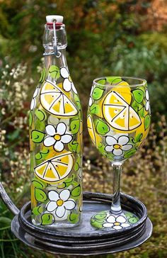 Items similar to Lemon Slice Glass Bottle with Stopper - Hand Painted Glassware on Etsy Painted Glass Bottles, Glass Bottle Crafts, Wine Bottle Art, Painted Wine Glasses, Bottle Bottle, Glass Bottle With Stopper, Glass Painting Designs, Bottle Painting, Glass Art