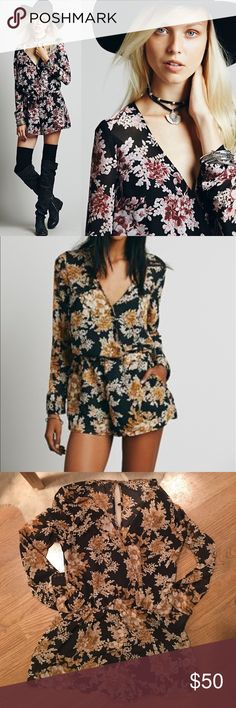 """Free People float away floral print romper Free People """"float away"""" romper. Floral print. Button down back. Elastic waistband. Excellent condition-- worn twice. Free People Dresses Mini"""