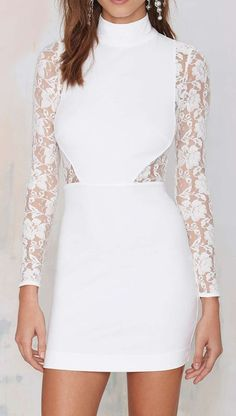 Nasty Gal Danica Lace Dress - Ivory
