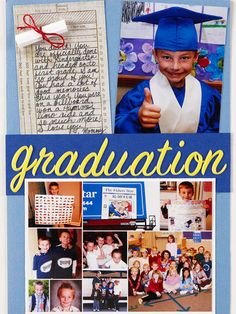 """Design by Candi Gershon For her son's kindergarten graduation page, Candi experimented with an 81/2x12"""" page she can display or keep in a page protector. Creating your own embellishments saves money and a trip to the store. Candi made the mini graduation scroll by rolling a small piece of cardstock and tying it with embroidery floss. Candi assembled her photo collage using an online photo service and sent it to a local store to print on 5x7"""" paper. On her next trip to the store, she picked…"""