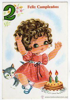 tarjeta postal - feliz cumpleaños 2 - colección - Comprar Postales conmemorativas antiguas en todocoleccion - 20943342