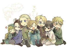 hetalia~ Look how cuddly Hungary is with Austria! :3 so cute