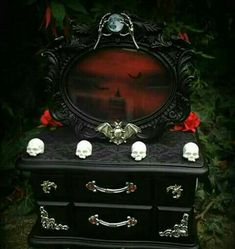Outstanding Gothic jewellery box by Curiology. We've been making custom boxes for 5 years… … The post Gothic jewellery box by Curiology. We've been making custom boxes for 5 year… appeared first on Decor For Home . Gothic Furniture, Painted Furniture, Furniture Design, Goth Bedroom, Jewelry Box Makeover, Gothic Interior, Goth Home Decor, Haunted Dollhouse, Gothic House