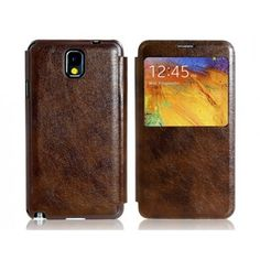 Large Front Display Leather Brown Samsung Galaxy Note 3 Case