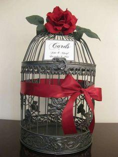 Bird cage wedding card holder.