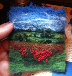 Embellished and hand embroidered landscape button brooch. Before mounted Nuno Felting, Needle Felting, Needle Felted Animals, Felt Animals, Wet Felting Projects, Felt Pictures, Creative Textiles, Wool Art, Landscape Quilts