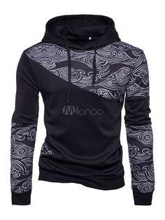 a6ac554ed8 Sudadera con capucha de algodón mezclado negra Encapuchada con dibujo  retazados