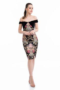 18238fdc1044 1821C7021 Off-Shoulder Velvet Knee Length Dress by Terani Couture at  CoutureCandy.com Formal