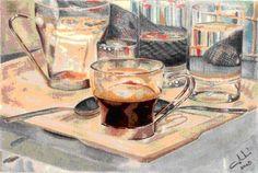 Cafè a Pompidou  2003 (17 x 11,5 watercolor on paper)