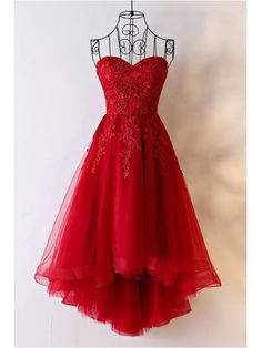 Shop Unique Burgundy High Low Tulle Cheap Prom Dress With Appliques online. SheP… Shop Unique Burgundy High Low Tulle Cheap Prom Dress With Appliques online. SheProm offers formal, party, casual & more style dresses to fit your special occasions. Strapless Homecoming Dresses, High Low Prom Dresses, Lace Party Dresses, Unique Prom Dresses, Pretty Dresses, Sexy Dresses, Evening Dresses, Short Dresses, Dress Outfits