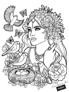 Fantasy Myth Mythical Mystical Legend Elf Elves Coloring pages colouring adult. - Coloring Pages People Coloring Pages, Fairy Coloring Pages, Coloring Pages To Print, Printable Coloring Pages, Coloring Pages For Kids, Coloring Sheets, Coloring Books, Mandalas Painting, Mandalas Drawing