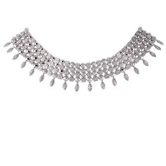 "Presented within the fascinating ""Lucea"" collection by Bvlgari, this stunning necklace boasts exceptionally stylish design and ravishing diamond décor. The necklace is made of elegant white gold and weighs 144 grams. Bulgari Jewelry, Diamond Decorations, Bvlgari, Collar Necklace, White Gold Diamonds, The Row, Elegant, Stylish, Classy"