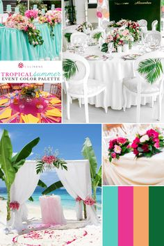 Tropical wedding emerald green, fuchsia, peach, turquoise color palette | tropical wedding theme, tropical wedding flowers, tropical wedding decor, tropical wedding reception,  tropical wedding reception, tropical wedding colors, tropical wedding centerpieces, tropical wedding table decor, tropical wedding colors palette, tropical wedding ideas, tropical wedding ceremony, tropical wedding theme colors, tropical wedding backdrop, tropical wedding inspiration, tropical wedding arch ideas Tropical Wedding Centerpieces, Tropical Wedding Reception, Summer Wedding Colors, Wedding Decorations, Aruba Weddings, Hot Pink Weddings, Wedding Prep, Wedding Table, Wedding Ceremony