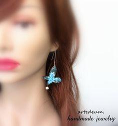 #Blue#Butterfly#earrings#Verdigris#Patina#Blue#by WhiteTeapot, $48.00