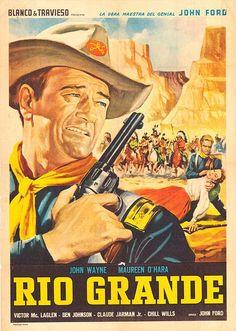RIO GRANDE (1950) Nel 1880, un colonnello della cavalleria non può inseguire i predoni apache oltre il confine messicano. L'ufficiale ha un figlio, ma da quindici anni non vede la famiglia perché è stato costretto a bruciare la piantagione della moglie, simpatizzante sudista, e questa non l'ha perdonato. Scopre che suo figlio si è arruolato nel reggimento e ben presto giungerà la moglie per riaverlo indietro. Il colonnello riuscirà a sconfiggere gli indiani, a riappacificarsi con la…