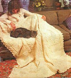 Afghan Knitting Pattern, Cable Knit Afghan or Blanket Knitting Pattern, Celtic Decor Idea,  PDF INSTANT Download Pattern (2017)