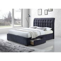 Caballo Tufted Dark Gray Fabric Bed with Drawers | Stylish Tufted Headboard Bed with Storage