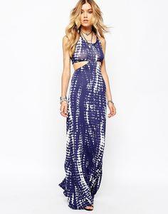 Imagen 1 de Vestido largo con diseño efecto teñido anudado y abertura lateral de Missguided