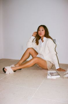 Aimee Song   White Button-Down Outfits   White Shirt Style White Button Down Outfit, White Button Up, Green Dress, White Dress, Aimee Song, Sleeveless Coat, Song Of Style, Wide Leg Jeans, Boyfriend Jeans