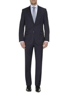 Donkerblauw met streepje. Misschien liever een iets rechtere en langere pantalon.