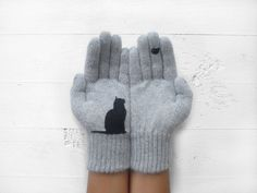 Cat Bird Gloves, Cats, Birds, Pet Lovers, Gray Gloves, Special Gift, Christmas Gift, Holiday Gift, Winter, Gift For Her, Xmas Gift, Animals $36.00