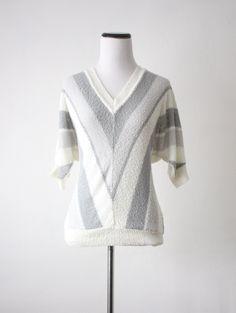 vintage slouchy chevron stripe knit blouse