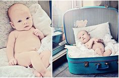 cute newborn in a vintage suitcase www.andreadovey.c...