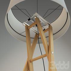 3d модели: Торшеры - Деревянный торшер