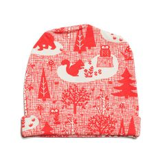 Baby Hat - Winter Forest Red #Owls #woodland #animals