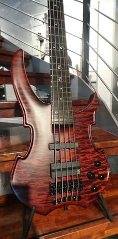 Red 5 String Warwick Bass Guitar