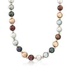 10-11mm Multicolored Cultured Pearl Necklace With 14kt Yellow Gold