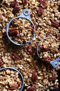 Maple Pecan Granola - maple syrup sweetened granola filled with clusters and pecans!