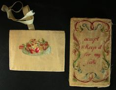 TWO 18TH c.  SILK EMBROIDERED POCKET BOOKS A pair of beautifully worked silk embroidered pocket books  that were both made by the same young girl.  They date to the mid 1700's.