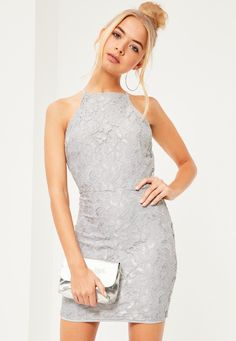 Missguided - Lace Square Neck Bodycon Dress Grey