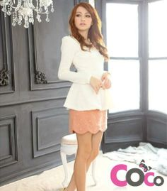 White Long Sleeves Fashionable Blouse with Peplum and White Lace Collar