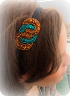 Beaded Headband with Turquoise and Bronze seed beads. $10.00, via Etsy.