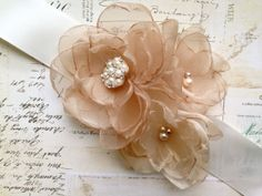 Shop for on Etsy, the place to express your creativity through the buying and selling of handmade and vintage goods. Wedding Sash Belt, Wedding Belts, Bridal Sash, Pearl Bridal, Handmade Flowers, Diy Flowers, Fabric Flowers, My Big Fat Gypsy Wedding, Diy Gifts To Make