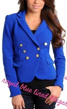 Women's stanzino doubled breasted blazer Worn casually or formally, this double breasted blazer from Stanzino makes a bold statement. Two flap pockets and contrasting goldtone buttons amplify the look of this stylish jacket. Royal Blue Blazers, Blazer Suit, Suit Jacket, Stylish Jackets, Double Breasted Blazer, Formal, Sweaters, Things To Sell, Buttons