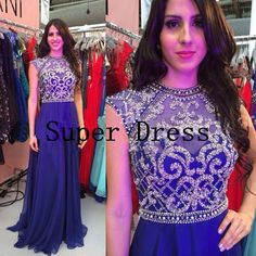 Royal Blue Prom Dress With Silver Beads, Long Chiffon Dress,Open Back Prom Dress,Popular Vintage Prom Dress,High Quality &Pure Handmade