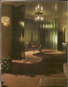 "1970s Living Room    From an old ""House & Garden"" / reminds me of Mulholland Drive or Blue Velvet or something."