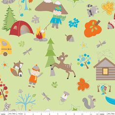 SALE  Fox Trails Tossed Characters Green Camping Riley Blake Fabrics, Clearance