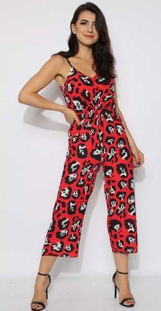 56386f1a1092 Leopard Cami Culotte Jumpsuit - Red Leopard Cami Culotte Jumpsuit -  Adjustable Cami Straps Tie Front