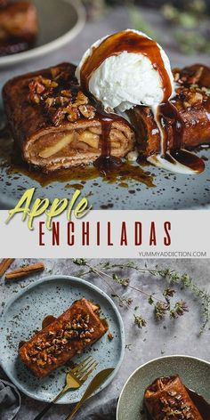 These easy to make apple enchiladas soaked in sugary syrup and sprinkled with cinnamon and pecans make an amazing sweet treat for chilly fall evenings. Make them healthier by choosing whole wheat tortillas instead of regular ones. #dessert #enchiladas #apples #fall Easy No Bake Desserts, Easy Desserts, Delicious Desserts, Dessert Recipes, Mexican Desserts, Dinner Recipes, Apple Recipes, Fall Recipes, Fruit Recipes