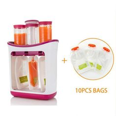 Baby Food Maker Baby Feeding Containers Storage Supplies Newborn Toddler Solid juice maker with 10 Pouches Squeez storage bag Baby Food Containers, Storage Containers, Food Storage, Baby Food Makers, Fruit Puree, Food Stations, Toddler Snacks, Recipe Organization, Homemade Baby Foods