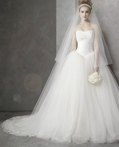 Vera Wang wedding dresses designed a stunning collection for David's Bridal at an affordable price. Try on a gorgeous Vera Wang White designer wedding gown today! Vera Wang Bridal, Vera Wang Wedding, Vera Wang Hochzeitskleider, Dream Wedding Dresses, Wedding Gowns, Tulle Wedding, Ivory Wedding, Wedding Ceremony, Church Wedding