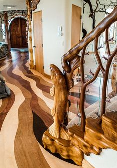 Organic Fairy Tale House That Seems Breathing With Magic Rustic Home Design, Wood Design, Stair Design, Design Table, Diy Holz, Banisters, Tree Sculpture, Ribbon Sculpture, Woodworking Projects Diy