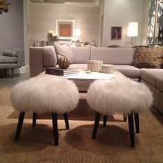 Whimsical yet practical. Playful yet chic. A pair of furry stools that make a strong style statement while providing extra seating. The DwellStudio designer, Christiane Lemieux said they were inspired by the decor-famous Lalanne sheep! DwellStudio Precedent Showroom - 315 Fred Alexander Place