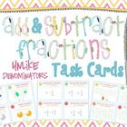 44 Adding and Subtracting Fractions with like denominators task cards. The cards use a variety of different ways to challenge and engage your stude. Adding And Subtracting Fractions, Math Fractions, Maths, 5th Grade Math, Fifth Grade, Math Lab, 5th Grades, Math Resources, Task Cards