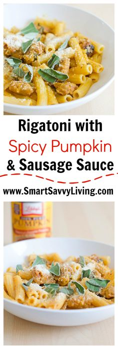 Rigatoni with Spicy Pumpkin and Sausage Sauce recipe - A great pumpkin recipe to warm up with for Fall dinners!: Rigatoni with Spicy Pumpkin and Sausage Sauce recipe - A great pumpkin recipe to warm up with for Fall dinners! Sausage Recipes, Pork Recipes, Pasta Recipes, Vegetarian Recipes, Cooking Recipes, Healthy Recipes, Savoury Recipes, Noodle Recipes, Delicious Recipes
